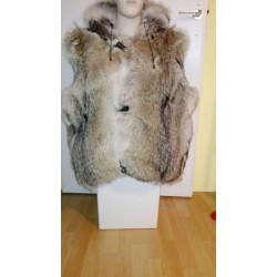 Hooded coyote fur bodywarmer