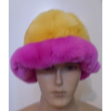 Rex rabbit hat yellow-pink